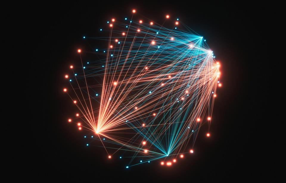 Abstract Particle connection network background