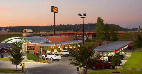 Sonic location as seen from slightly above ground level, at dusk.