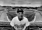 Tommy Lasorda, poses during a 1980 Los Angeles, California, photo portrait session at Dodger Stadium. (Photo by George Rose/Getty Images)