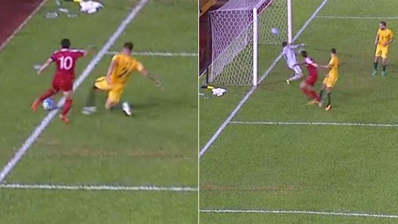 Ryan prevented what would have been a contentious goal. Pic: Fox Sports