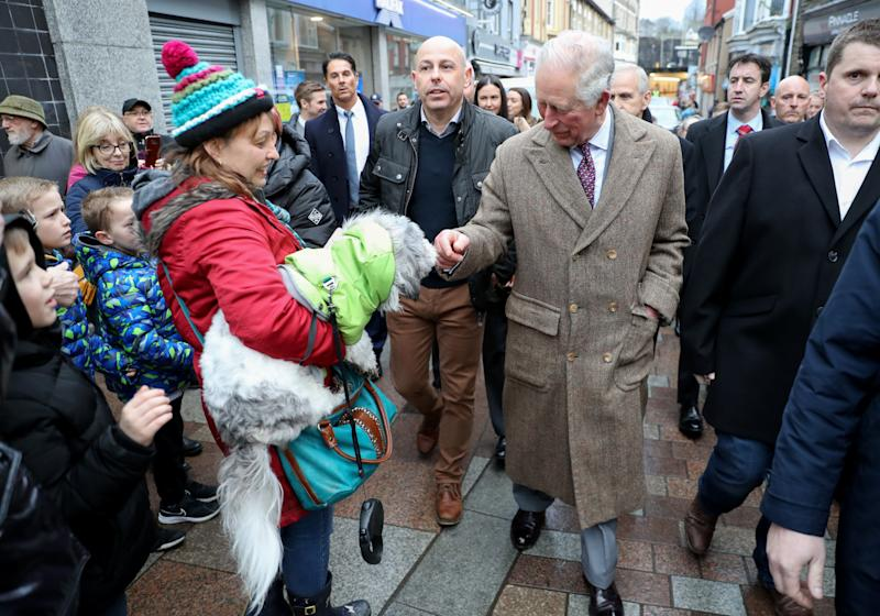 The Prince of Wales meets residents and businesses affected by recent floods, and to meet those involved in the rescue and support effort during a visit to Pontypridd, Wales, which has suffered from severe flooding in the wake of Storm Dennis.