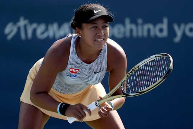 Naomi Osaka retired with a knee injury two weeks prior to the start of the U.S. Open. (Getty)