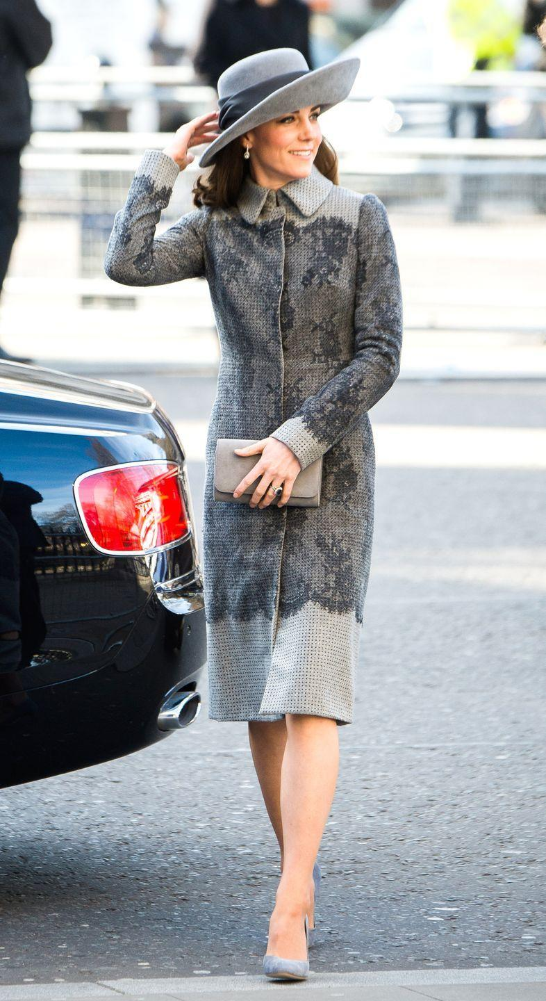 <p>Middleton looked chic in a monochromatic grey look, featuring an Erdem coat with eye-catching lace details, a wide-brimmed hat and velvet pumps as the royals attended the Commonwealth Day service in the year of the Queen's 90th birthday. </p>
