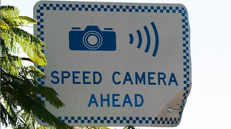 Picture is of one of the signs which are used in NSW to alert motorists of upcoming speed cameras.