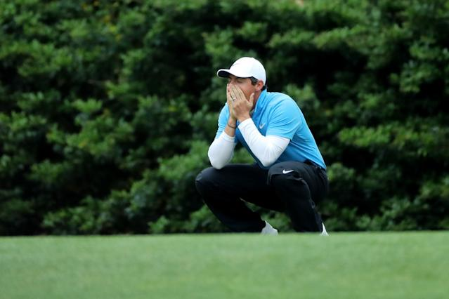 Rory McIlroy of Northern Ireland reacts to a missed putt on the 11th hole during third round play of the 2018 Masters golf tournament at the Augusta National Golf Club in Augusta, Georgia, U.S. April 7, 2018. REUTERS/Lucy Nicholson