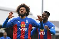 Crystal Palace defender Jairo Riedewald (left) celebrates his goal against Fulham