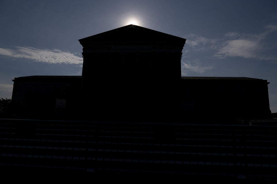 The Supreme Court in Washington, as the sun rises behind the buidling Monday, June 7, 2021. (AP Photo/Andrew Harnik)