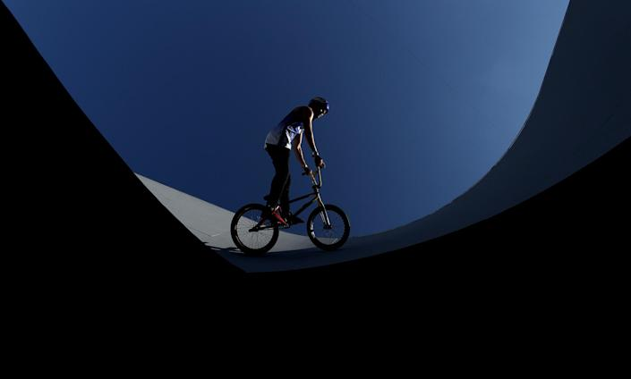 <p>Daniel Dhers of Venezuela practices for the BMX freestyle competition at Ariake Urban Sports Park.</p>
