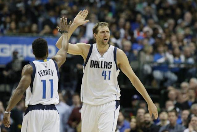 "<a class=""link rapid-noclick-resp"" href=""/nba/players/3252/"" data-ylk=""slk:Dirk Nowitzki"">Dirk Nowitzki</a> has joined select company in NBA history with his 30,000th point. (AP)"