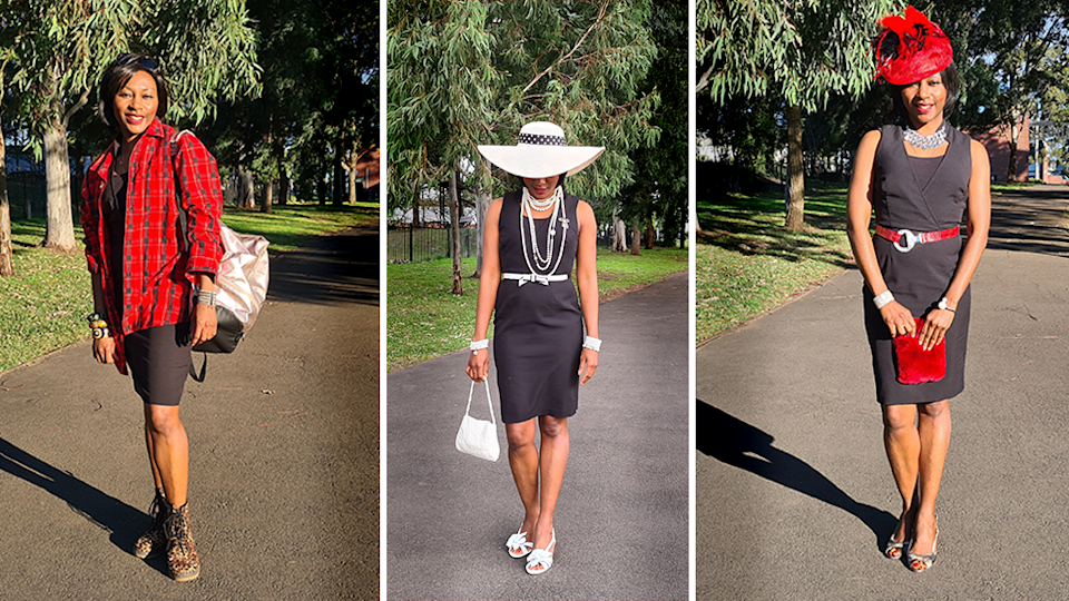 Nina Gbor shows how the same piece of clothing can be restyled in multiple ways. Source: Supplied