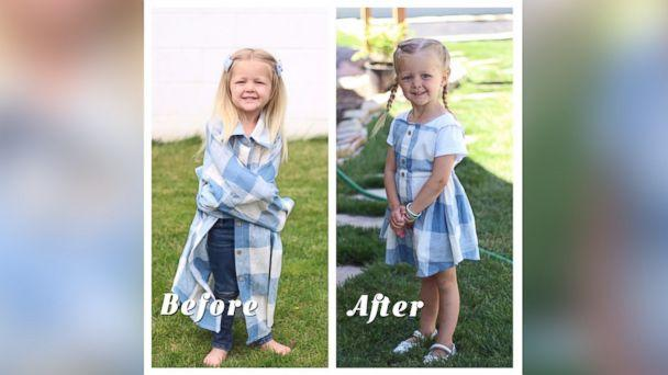PHOTO: Stephanie Miller of Salt Lake City, Utah, makes dresses for her daughters out of husband's old shirts. (Stephanie Miller)