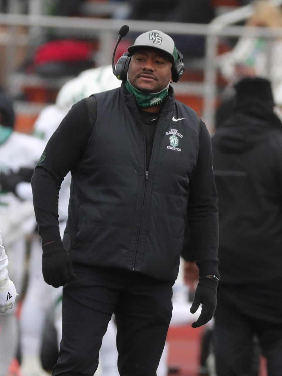 West Bloomfield Lakers head coach Ron Bellamy during action against the Belleville Tigers in the MHSAA Division 1 semifinals Saturday, Jan. 16, 2021.