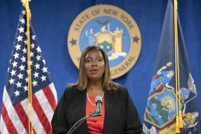 New York State Attorney General, Letitia James, speaks during a news conference in New York City