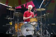 """FILE PHOTO: Charlie Watts of British veteran rockers The Rolling Stones performs with his band members Mick Jagger, Keith Richards, and Ronnie Wood during a concert on their """"Latin America Ole Tour"""" in Santiago"""