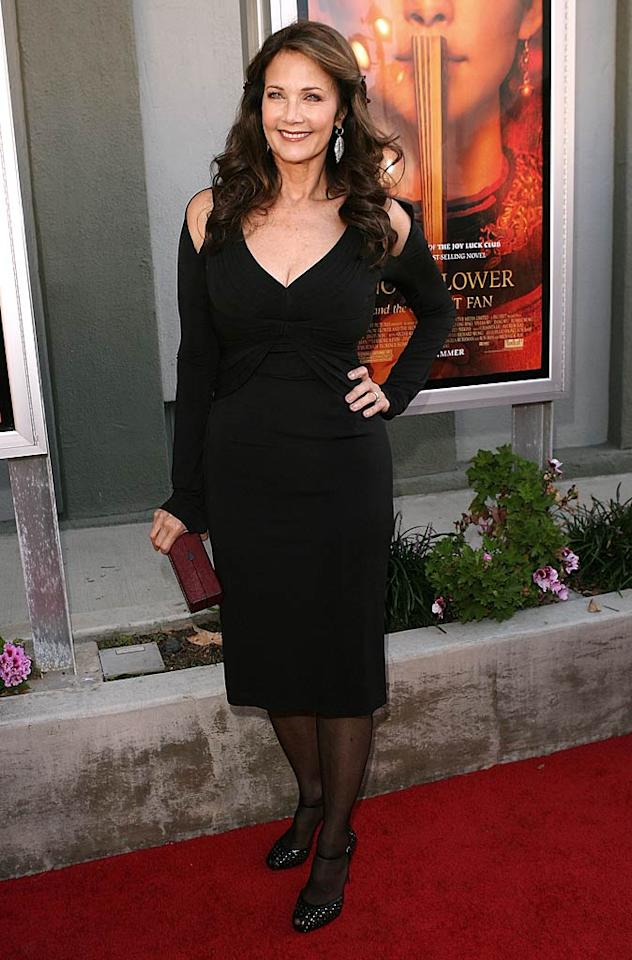 """Speaking of '70s hotties, Lynda Carter (better known as """"Wonder Woman"""") also put women half her age to shame at the same screening. Can you believe the lovely Lynda will turn 60 on July 24? Jesse Grant/<a href=""""http://www.wireimage.com"""" target=""""new"""">WireImage.com</a> - July 11, 2011"""