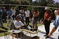 <p>Sean Connery and crew on the set of 'Diamonds Are Forever', 1971.</p>