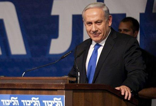 Israeli Prime Minister Benjamin Netanyahu addresses a meeting of his Likud party in Tel Aviv