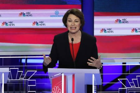 Senator Amy Klobuchar speaks during the first U.S. 2020 presidential election Democratic candidates debate in Miami, Florida, U.S.