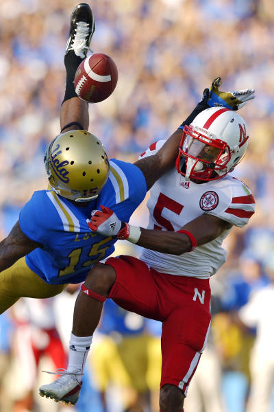 Nebraska cornerback Braylon Heard, right, breaks up a pass intended for UCLA wide receiver Devin Lucien during the first half of their NCAA college football game, Saturday, Sept. 8, 2012, in Pasadena, Calif. (AP Photo/Mark J. Terrill)