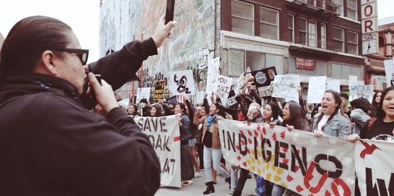 A still from a film by Timothy Ornelas, showing a Dakota Access Pipeline protest in Los Angeles in February 2017.