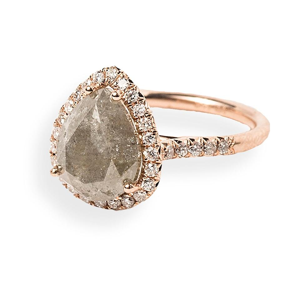 The Raw Grey Diamond Adds An Earthiness To This Elegant Rose