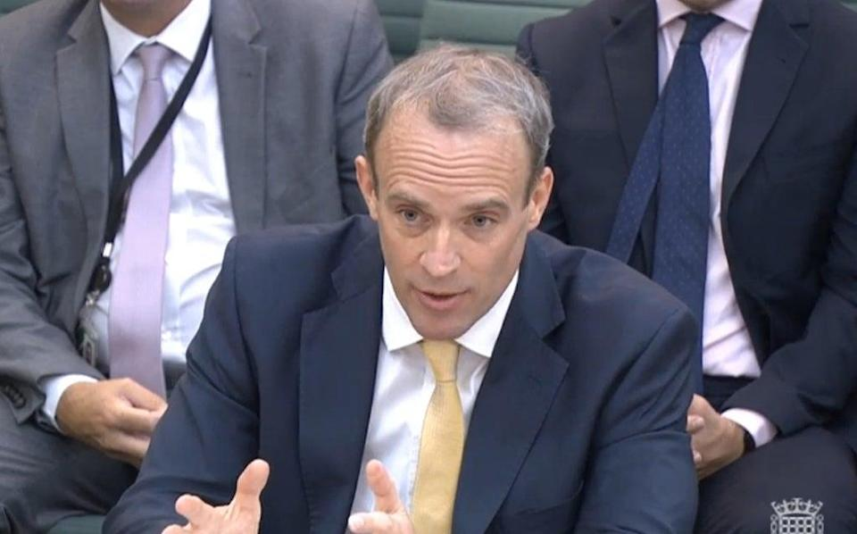 Foreign Secretary Dominic Raab giving evidence to the Common's Foreign Affairs Committee (PA Wire)