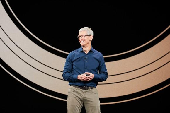 Apple CEO Tim Cook on stage at the company's annual product event.