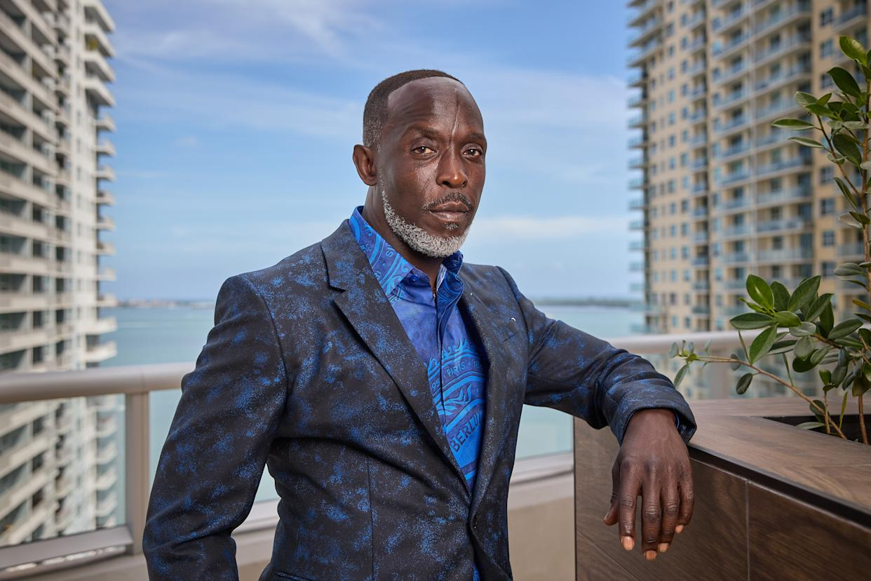 MIAMI, FL - MARCH 31: Michael K. Williams is seen in his award show look for the 27th Annual Screen Actors Guild Awards on March 31, 2021 in Miami, Florida. Due to COVID-19 restrictions the 2021 SAG Awards will be a one-hour, pre-taped event airing April 4 on TNT and TBS.  (Photo by Rodrigo Varela/Getty Images)