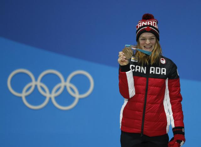 Medals Ceremony - Short Track Speed Skating Events - Pyeongchang 2018 Winter Olympics - Women's 1500m - Medals Plaza - Pyeongchang, South Korea - February 18, 2018 - Bronze medallist Kim Boutin of Canada on the podium. REUTERS/Eric Gaillard