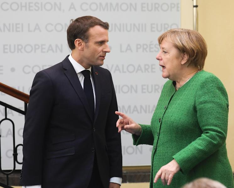 French President Emmanuel Macron is at loggerheads with German Chancellor Angela Merkel over who should become the next EU president (AFP Photo/Ludovic MARIN)