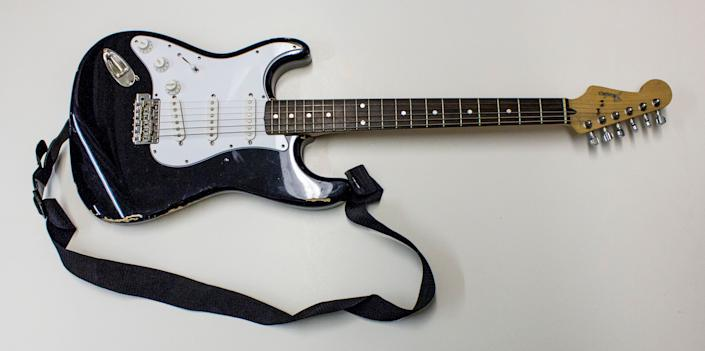 Kurt Cobain played this Fender Stratocaster during Nirvana's <em>In Utero</em> tour. The 2014 Rock and Roll Hall of Fame Inductee exhibit opens May 31, 2014 in Cleveland, Ohio.