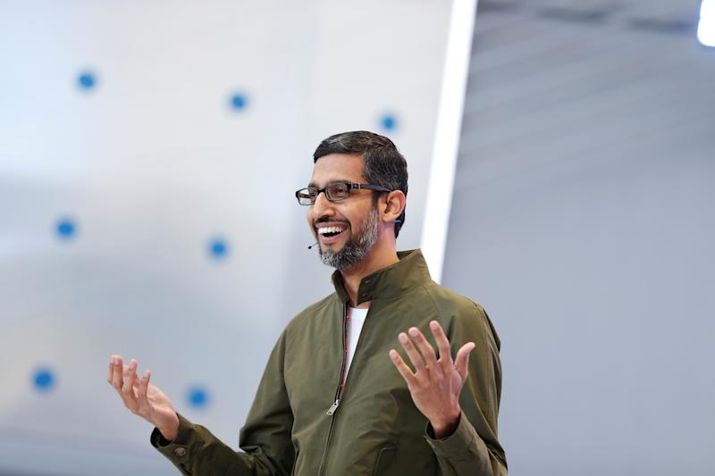 Google CEO Sundar Pichai speaks onstage during the annual Google I/O developers conference in Mountain View, California, May 8, 2018. REUTERS/Stephen Lam