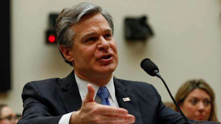 FBI Director Christopher Wray, pictured in February, described a wide-ranging campaign by the Chinese government to disrupt US life
