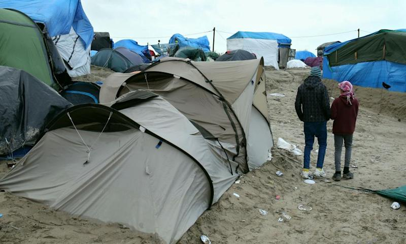 Unaccompanied child migrants at the Calais refugee camp.