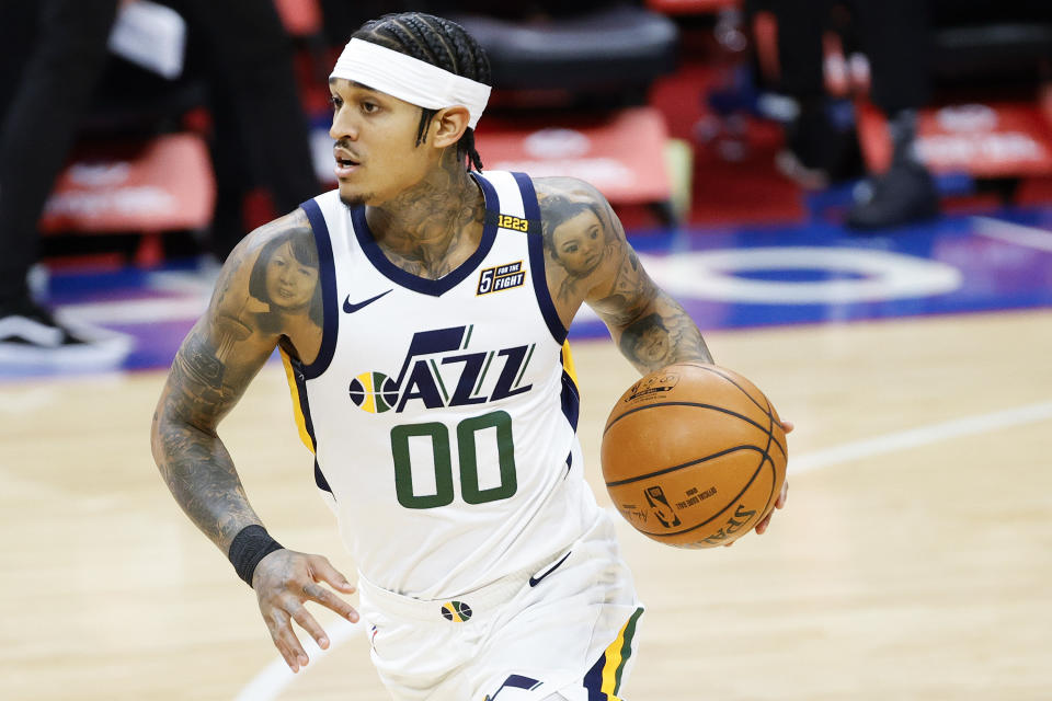 PHILADELPHIA, PENNSYLVANIA - MARCH 03: Jordan Clarkson #00 of the Utah Jazz dribbles during the second quarter against the Philadelphia 76ers at Wells Fargo Center on March 03, 2021 in Philadelphia, Pennsylvania. NOTE TO USER: User expressly acknowledges and agrees that, by downloading and or using this photograph, User is consenting to the terms and conditions of the Getty Images License Agreement. (Photo by Tim Nwachukwu/Getty Images)