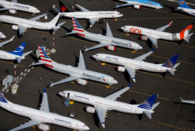 FILE PHOTO: Grounded Boeing 737 MAX aircraft are seen parked at Boeing Field in Seattle