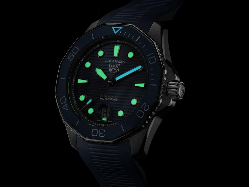 """<p>Aquaracer Professional 300 Nightdiver</p><p><a class=""""link rapid-noclick-resp"""" href=""""https://www.tagheuer.com/gb/en/collection-aquaracer/collection-aquaracer.html"""" rel=""""nofollow noopener"""" target=""""_blank"""" data-ylk=""""slk:SHOP"""">SHOP</a></p><p>Tag Heuer's Aquaracer Professional 300 series got a reboot earlier this year. It was more evolution than revolution – tweaks that improved an already hugely-popular watch (date window now at... 6 o'clock!) – but that didn't mean it wasn't all the better for it.</p><p>Joining the eight models announced in April comes the Nightdiver with its all-black appearance and its unmissable lume dial. Available in three versions, the DLC-coated version in black ceramic is our pick – a heavy-duty badass remix of a much-loved watch.</p><p>£2,750; t<a href=""""https://www.tagheuer.com/gb/en/collection-aquaracer/collection-aquaracer.html"""" rel=""""nofollow noopener"""" target=""""_blank"""" data-ylk=""""slk:agheuer.com"""" class=""""link rapid-noclick-resp"""">agheuer.com</a></p>"""