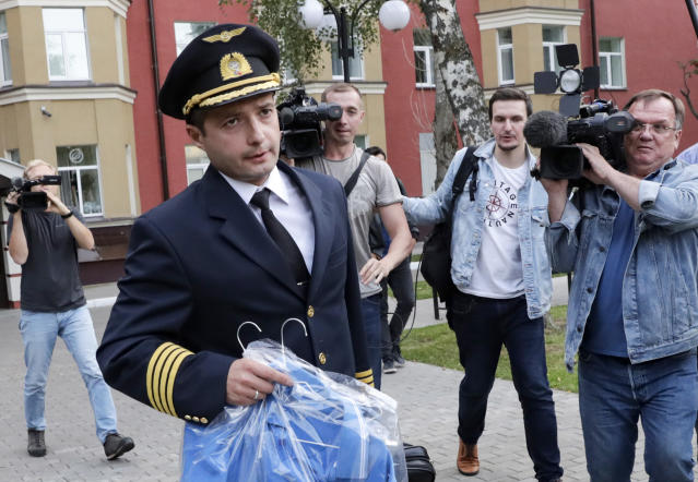 Damir Yusupov, 41, the captain of Ural Airlines A321, attends a news conference on Thursday after the crash. (AP)