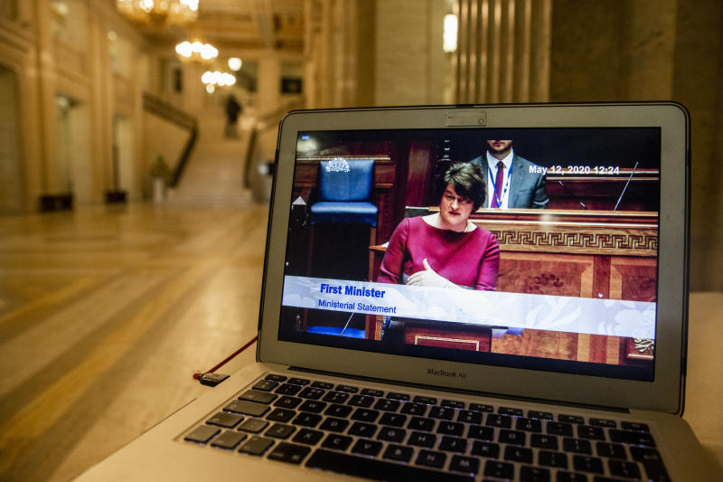 A computer screen displays First Minister Arlene Foster, as she issues a statement to the Northern Ireland Assembly at Stormont, the Executive's approach to coronavirus decision-making. (Photo by Liam McBurney/PA Images via Getty Images)