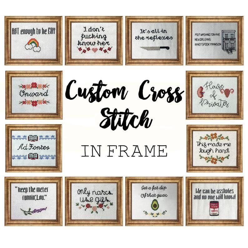 """Choose your color scheme, decorative border and text for a custom cross stitch they'll cherish. <a href=""""https://fave.co/382JF4U"""" target=""""_blank"""" rel=""""noopener noreferrer"""">Find it for $32 on Etsy</a>."""