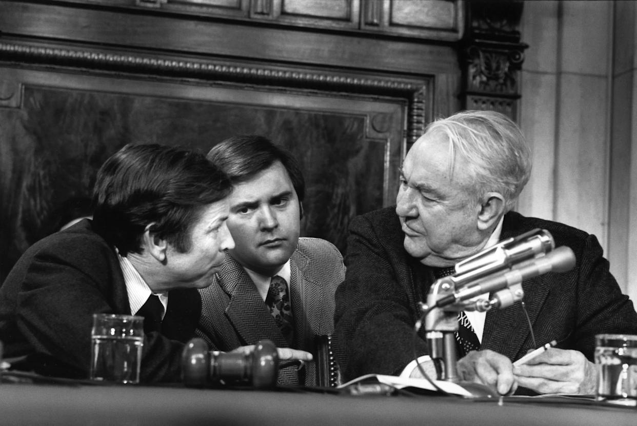 WASHINGTON - OCTOBER 14: (NO U.S. TABLOID SALES) (L) Republican Senator Howard Baker, (R) Democratic Senator Sam Irvin, and (C) unidentified staffer while serving on the Watergate commitee on October 14th 1973 in Washington, DC. (Photo by David Hume Kennerly/Getty Images).