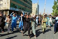 Local residents take part in a protest in Kandahar (AFP/Javed TANVEER)