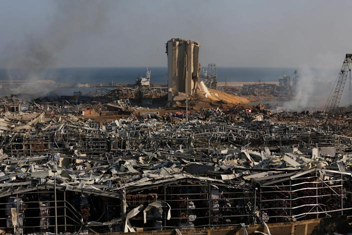 Buildings lie ruined on Aug. 5, 2020, near the city's port, devastated by an explosion a day earlier in Beirut, Lebanon.