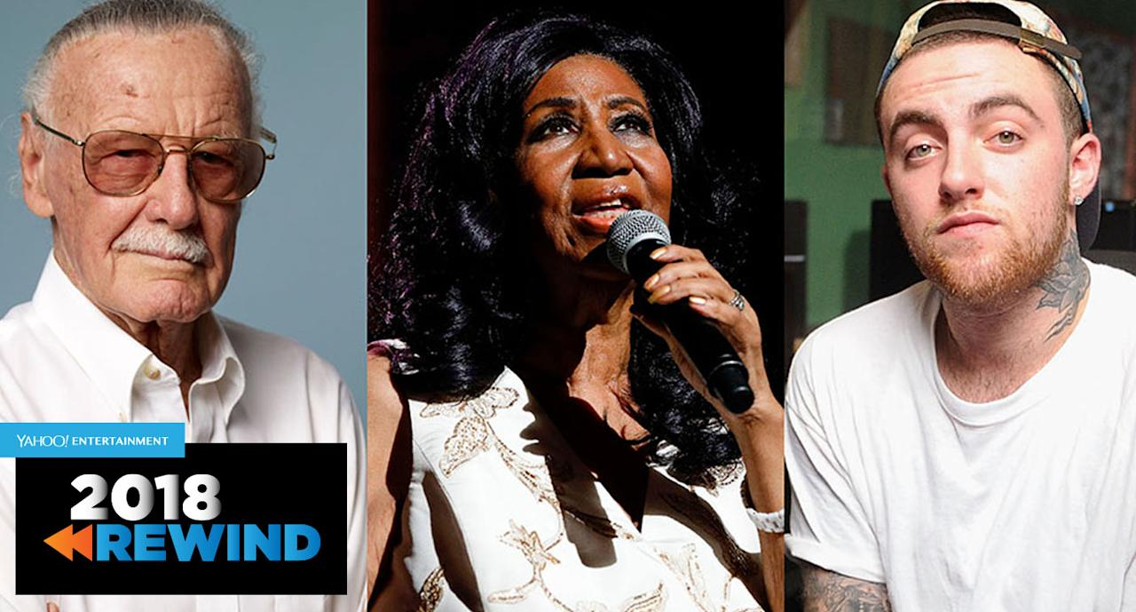 Stan Lee, Aretha Franklin and Mac Miller are among the entertainers who died in 2018.