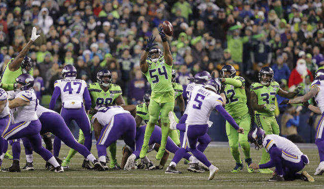 Bobby Wagner had a huge blocked field goal late against the Vikings. Was it legal? (AP)