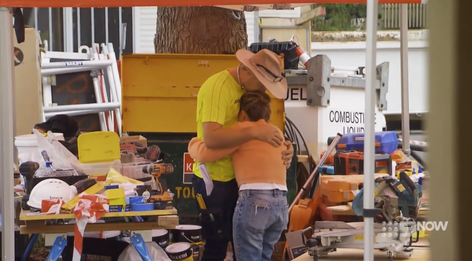The Block's Kirsty and Jesse embrace as she hears her grandmother passed away
