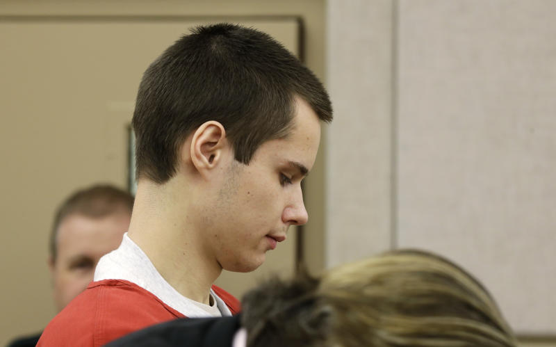 """Colton Harris-Moore, who is also known as the """"Barefoot Bandit,"""" appears in a court hearing, Thursday, March 21, 2013, in Mount Vernon, Wash. Harris-Moore is already serving a seven-year prison term after pleading guilty to state and federal crimes, but Skagit County Prosecutor Rich Weyrich filed theft and burglary charges earlier in 2013 against Harris-Moore, accusing him of stealing an airplane from Anacortes, Wash. and flying it to the airport on Orcas Island, Wash. (AP Photo/Ted S. Warren)"""