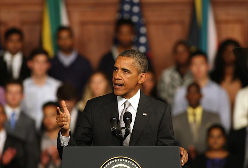 US President Barack Obama speaks at the University of Cape Town, South Africa, Sunday June 30, 2013. Obama's visit followed a visit to Robben Island, where ailing former South African president Mandela was jailed. Mandela is in critical condition in a Pretoria hospital just weeks before his 95th birthday. (AP Photo)