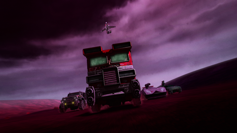 Optimus Prime (Jake Foushee) leads the charge in vehicle mode in Transformers : War for Cybertron Trilogy. (PHOTO: Netflix)
