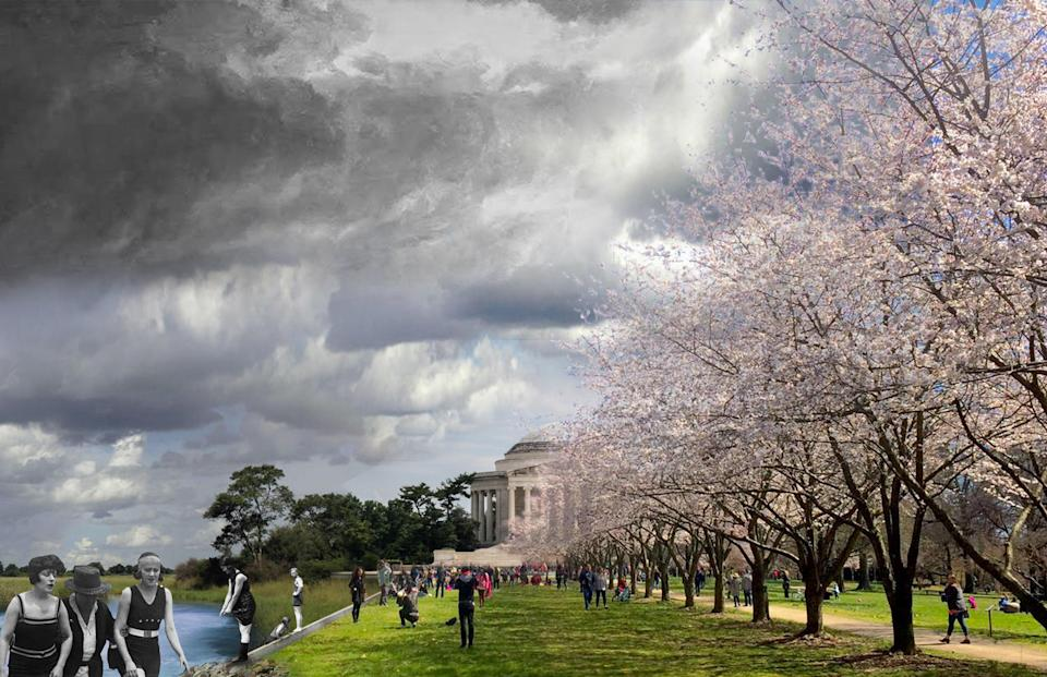 The DLANDstudio-proposed land bridge between the Jefferson Memorial and the White House.